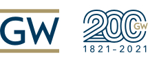 The George Washington University logo; 200; 1821-2021