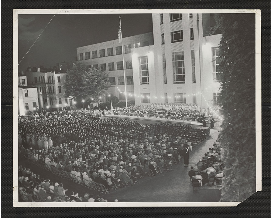 Commencement ceremony on university yard