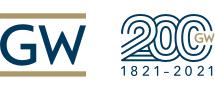 The George Washington University logo; 200; 1821-2021